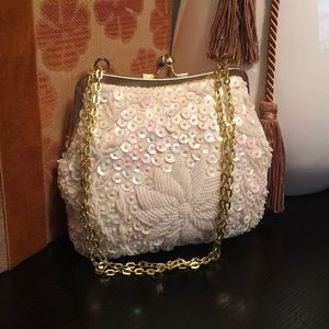 Handbags - Small beaded off white bag great condition